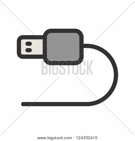 USB, cable, camera icon vector image. Can also be used for photography. Suitable for use on web apps, mobile apps and print media.