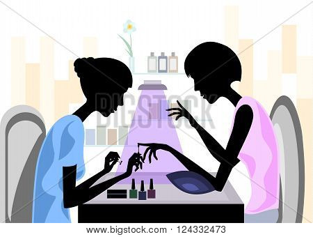 Vector illustration of a master making manicure