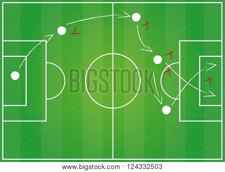 Football field. Tactics game vector illustration isolated