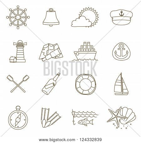 set of thin line nautical icons. outline vector with adjustable stroke width. vector illustration