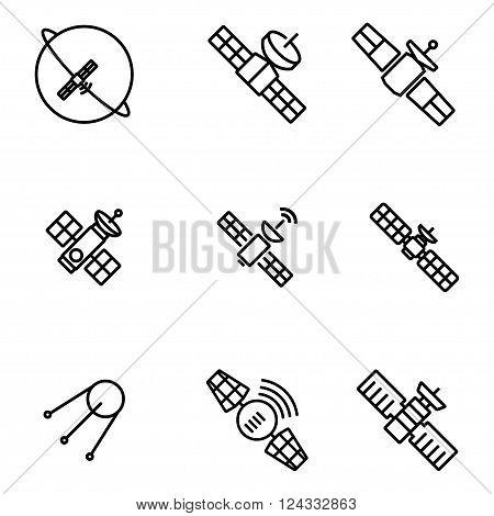 Vector orbit satellite icons set on white background