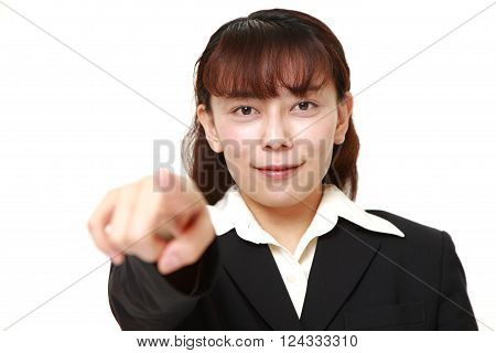 portrait of Asian businesswoman decided on white background