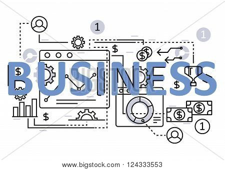 Business concept flat line design with icons and elements. Modern business concept vectors collection. Thin line flat design banners for website and mobile website easy to use and highly customizable. Business concept lettering
