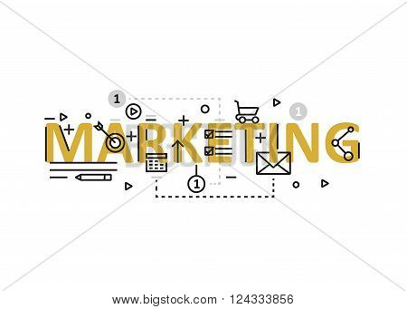 Marketing concept flat line design with icons and elements. Modern marketing concept vectors collection. Thin line flat design banners for website and mobile website easy to use and highly customizable. Marketing concept lettering