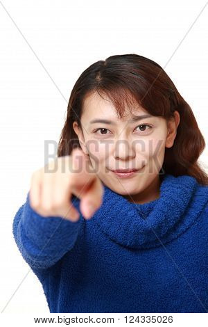 portrait of Asian woman decided on white background