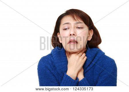 portrait of Asian woman having throat pain