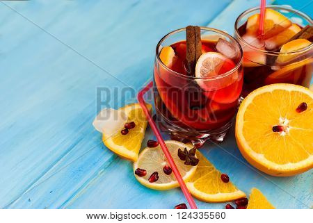 Refreshing Fruit Sangria. Summer Drink