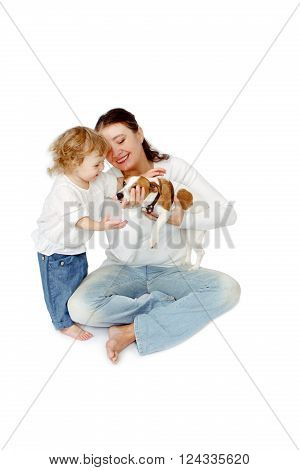 Mother with baby daughter and Dog Jack Russell Terrier on white background isolated