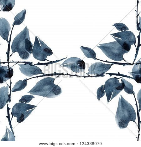 Watercolor and ink illustration of plants in style sumi-e u-sin. Oriental traditional painting. Seamless pattern.