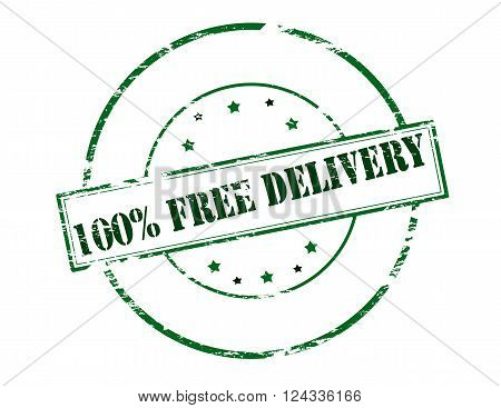 Rubber stamp with text one hundred percent free delivery inside vector illustration`