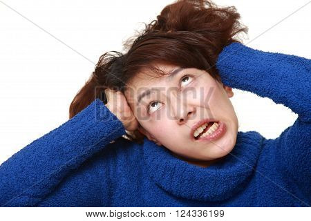 portrait of Asian woman demented on white background