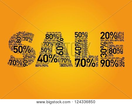 Sale Percents Composed In Word Cloud