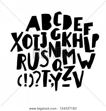 Paper Cut Alphabet. Black  letters. Capital letters.