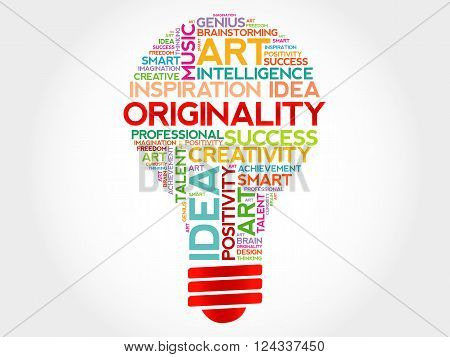Originality bulb word cloud concept, presentation background