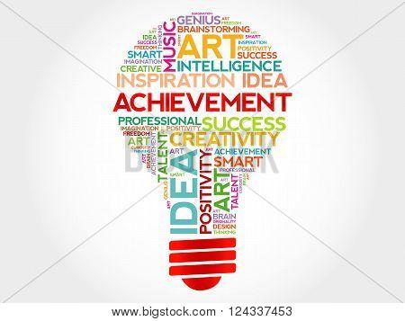 Achievement bulb word cloud concept, presentation background