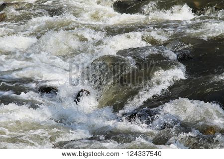 wild river flowing across the stones in the rapid