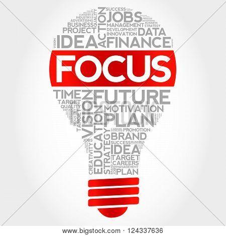 FOCUS bulb word cloud business concept, presentation background
