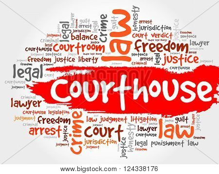Courthouse word cloud collage concept, presentation background