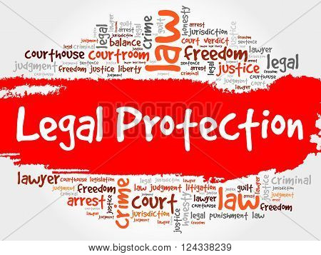 Legal Protection word cloud collage concept, presentation background