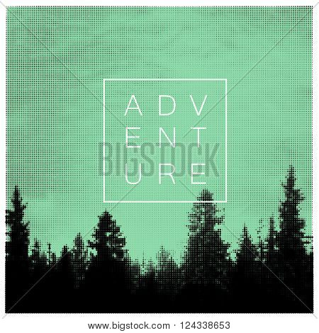 Forest Adventures Outdoor Background Concept. Halftone forest background