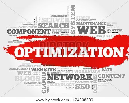 OPTIMIZATION word cloud business concept, presentation background