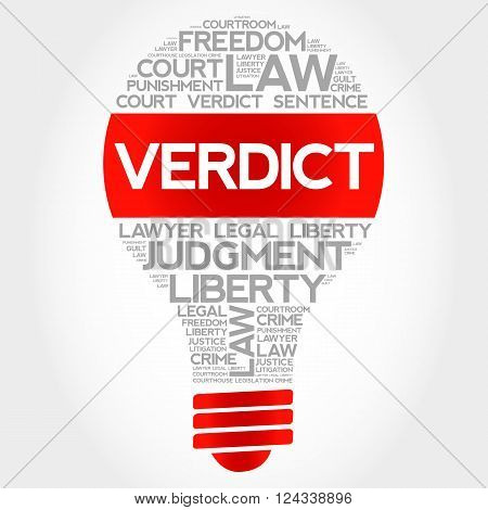 Verdict bulb word cloud concept, presentation background
