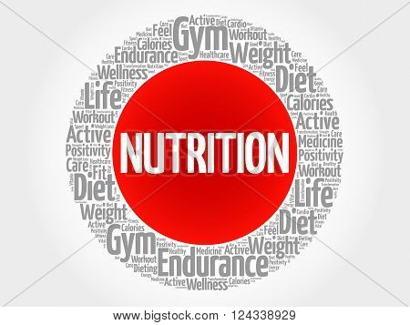 Nutrition Circle Stamp Word Cloud