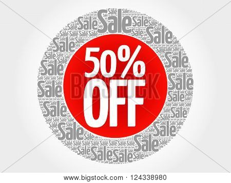 50% Off Stamp Words Cloud
