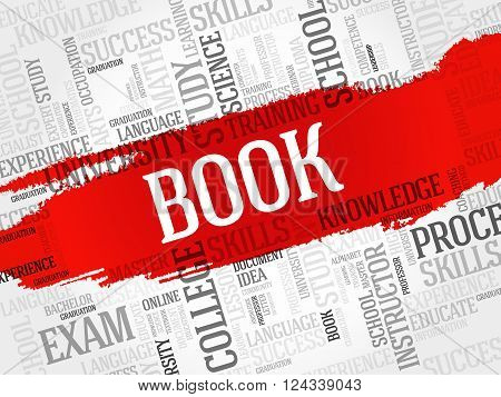 BOOK word cloud collage concept, presentation background