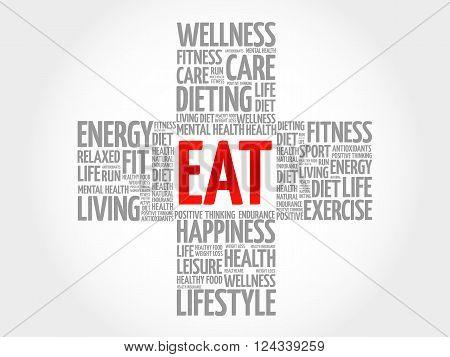 EAT word cloud health cross concept, presentation background