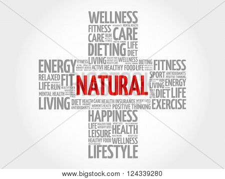 NATURAL word cloud health cross concept, presentation background