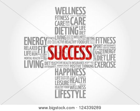SUCCESS word cloud health cross concept, presentation background