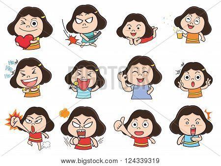 Cartoon emotion, girl feeling , cute girl sticker
