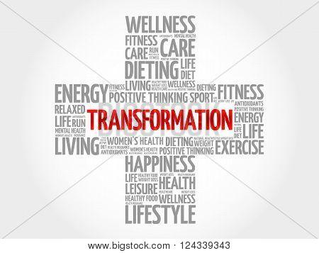 TRANSFORMATION word cloud health cross concept, presentation background