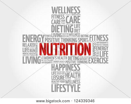 Nutrition word cloud health cross concept, presentation background