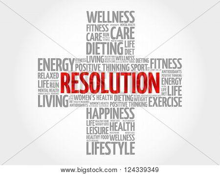 RESOLUTION word cloud health cross concept, presentation background