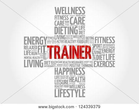 Trainer word cloud health cross concept, presentation background