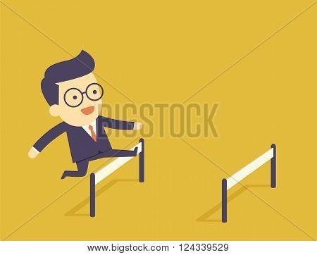 Businessman Jumping Over Hurdle the cartoon concept