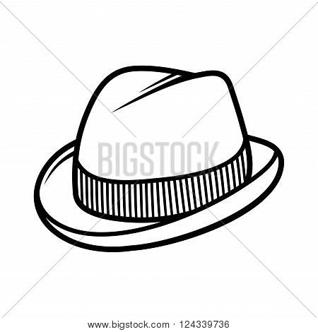 Mans Trilby Hat Icon Isolated on White Background. Vector illustration