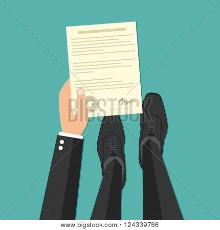 Business man hand holding contract agreement vector illustration