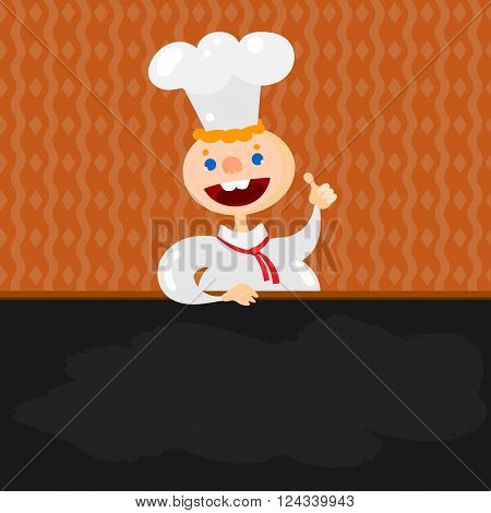 Blackboard menu and Chef character isolated at geometric design wall. Handsome young chief cook holding blackboard for restaurant menu.