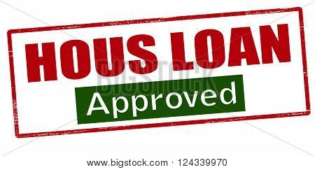 Rubber stamp with text hous loan approved inside vector illustration`