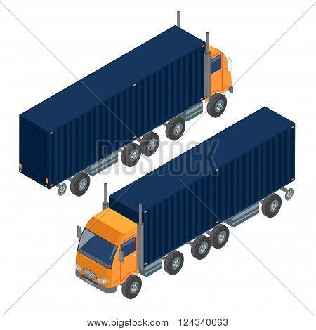 Cargo Transportation. Isometric Truck. Isometric Transportation. Cargo Trailer. Delivery Truck. Logistics Transportation. Mode of Transportation. Cargo Truck. Vector illustration