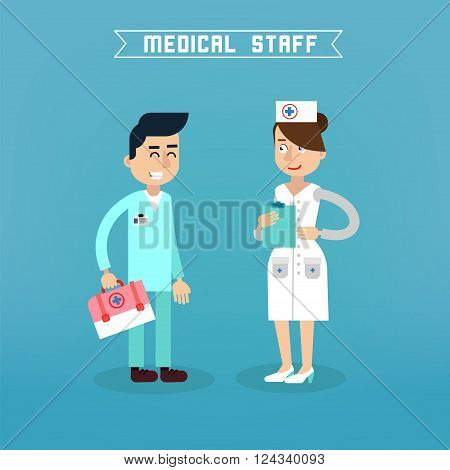 Medical Staff. Nurse and Doctor. Hospital Medical Team. Health Care. Medicine Professional. Medical Concept. Vector illustration