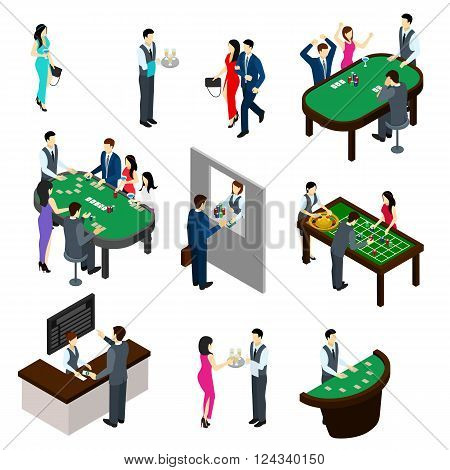 Casino and people isometric set with gambling and bet symbols isolated vector illustration