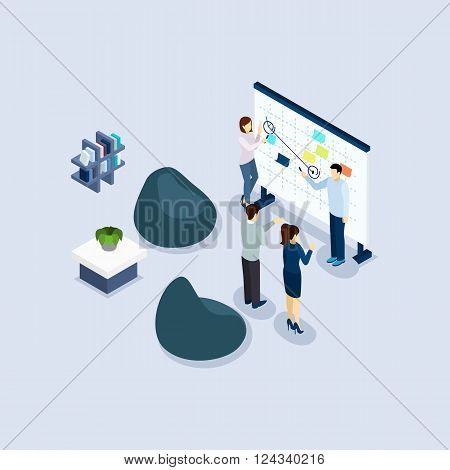 Coworking freelance employed people sharing working place environment in organization office isometric design abstract vector illustration