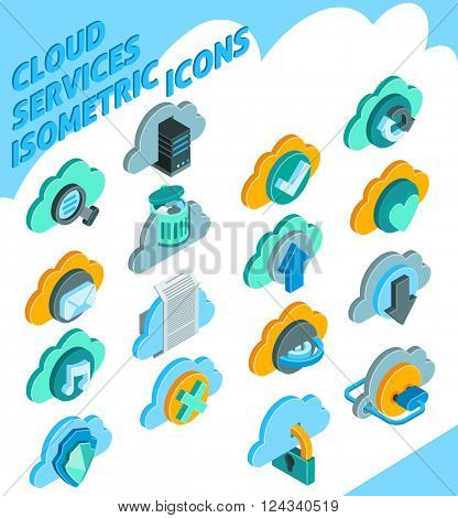 Cloud services isometric icons set with information storage symbols isolated vector illustration