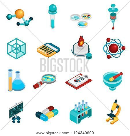 Science isometric icons set with chemistry and pharmaceutics symbols isolated vector illustration