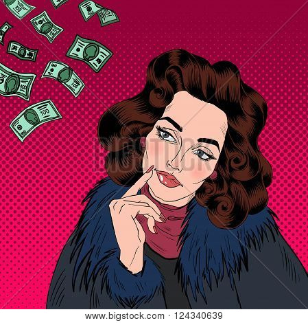 Attractive Woman Dreaming About Money. Pop Art Banner. Vector illustration