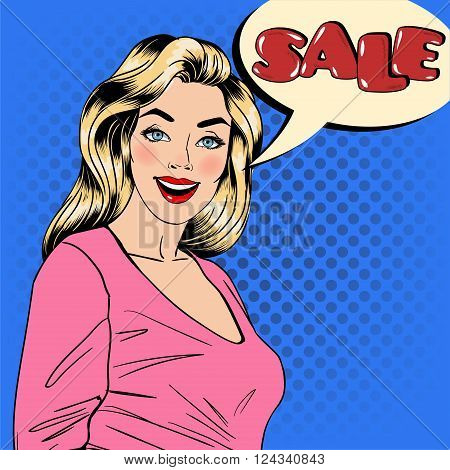 Sale Banner. Woman with Bubble Sale. Pin Up Girl. Seasonal Sale. Great Discount. Happy Woman. Sale Advertisement. Pop Art Banner. Vector illustration